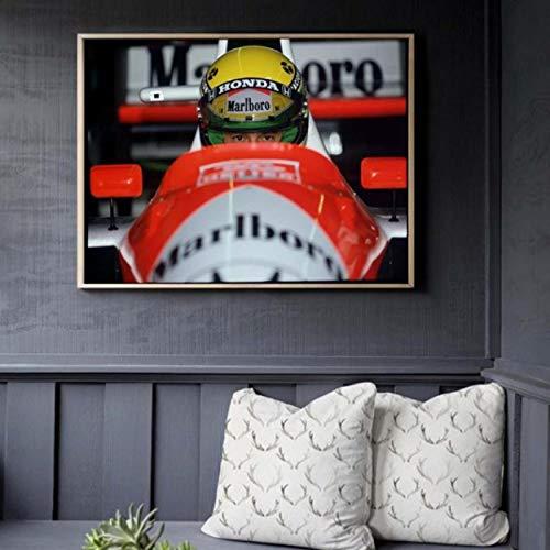 ZzSTX Senna Classic F1 Racer Vintage Lienzo Póster Impresiones Pintura Al Óleo sobre Lienzo Arte De Pared Murales Imágenes para Decoración50X70Cm Sin Marco