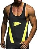Leif Nelson Gym pour des Hommes Fitness Raidisseur Chemise d'entraînement T-Shirt Training LN06286; Taille S, Gris-Noir