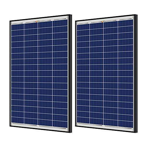 RICH SOLAR 2 Pieces 100 Watt 12 Volt Polycrystalline Solar Panel Black Frame for RV Trailer Camper Boat Off Grid