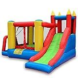 QULONG Castillo Hinchable Inflable para Saltar, tobogán de Parque con Pared de Escalada, Borde de Baloncesto, Incluye Bolsa de Transporte, Kit de reparación, estacas de garantía de Calidad