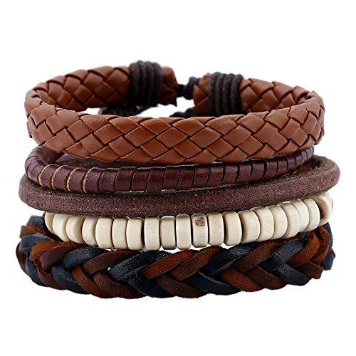 JZHJJ einfaches und stilvolles klassisches Armband Vintage Webarmband Lederkombi Herrenarmband Herrenhandseil aus gewebtem Leder beinhaltet: Armband,Armband Frauen,Armband männer