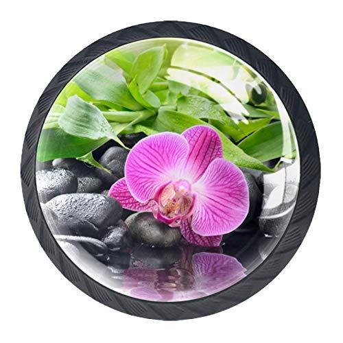 4 pomos redondos para aparador – Manija decorativa colorida con diseño floral para decoración del hogar, pomos de bambú zen