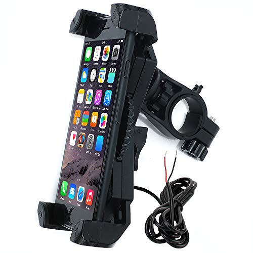 Motorcycle Phone Mount with Charger 5V USB Port Install on Handlebar Mirror Bar. Leepiya Cell Phone Holder Suit for iPhone XR Xs Max Xs X 8 7 6 Plus. Galaxy S9 S8 Plus and All 3.5 to 6.5 inches