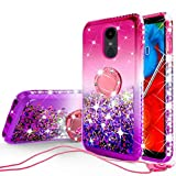 Liquid Glitter Cute Phone Case Kickstand Compatible for LG Stylo 5 / Stylo 5 Plus Case Clear Bling Diamond Bumper Ring Stand Girls Women - Pink/Purple