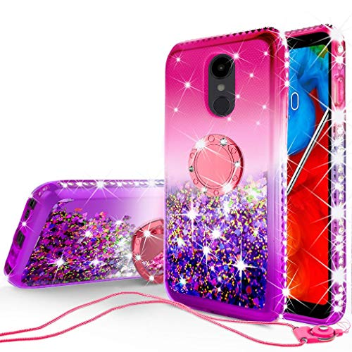 Liquid Glitter Cute Phone Case Kickstand for LG Stylo 5 / Stylo 5 Plus Case Clear Bling Diamond Bumper Ring Stand Girls Women for LG Stylo 5 / Stylo 5 Plus - Pink/Purple