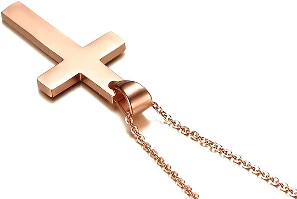 VNOX Cross Necklace Stainless Steel Necklace Simple Plain Cross Pendant Necklace//316L Stainless Steel Rolo Chain 60cm,Christmas//Birthady Gift