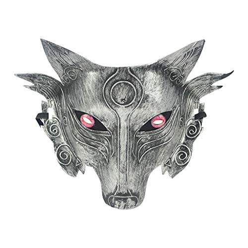 Lazzboy Cosplay Wolf Costume Mask Full Face for Men Women Fuchs Maske Halbes Gesicht Maskerade Halloween Party Animal Kostüm Dekorative(A)
