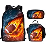 Woisttop Lot de 3 sacs à dos d'école avec impression 3D Multicolore Water Fire Rugby 2. grand