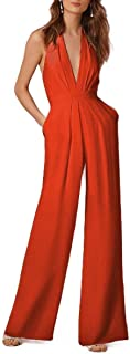 RkYAO Women's Sexy Deep V Neck Sleeveless Wide Leg Loose Jumpsuits Orange XS