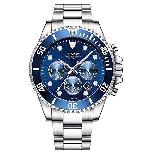JTTM Relojes De Hombre, Reloj De Cuarzo Analógico De Negocios Único para Hombres Cronógrafo De Acero Inoxidable Relojes,Azul