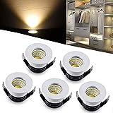 QYHOME Mini LED Einbaustrahler Set 5er,3W Warmweiß LED Deckeneinbaustrahler Schwenkbar COB Deckenspots Aluminium LED -Weiß [Energieklasse A+++]