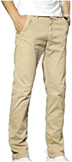 Comaba Mens Relaxed Fit Plus Size Straight Fit Long Pants Short فضفاض