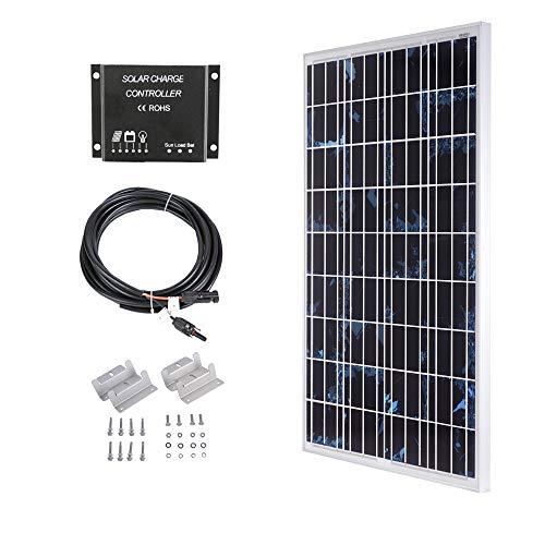 SARONIC 100W 12V Polykristallines Solarpanel Kit-100W Polykristallines Solarpanel + 10A LCD-Laderegler + 3m Adapterkabel + Montagewinkel