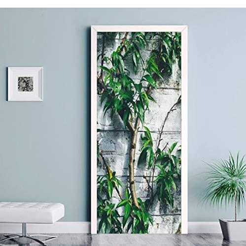 WISOEEP Self-Adhesive Door Sticker 3D Plant Tree Modern Wallpaper Living Room Kitchen Waterproof Door Decals Wall Stickers