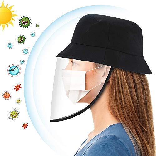 Sombrero con Pantalla Protectora Desmontable al Aire Libre, Donnie Timmy Gorra de Pescador Antiniebla para Anti-Virus, Bacterias, Saliva y Polvo, Negro