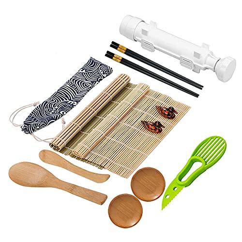 YeenGreen Kit de Sushi, Kit de Preparación de Sushi, 10 Kits de Fabricación de Sushi de Bambú,Set de Sushi Completo Profesional, para Principiantes