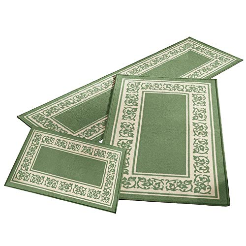 Madison Home Floral Border 3 Piece Rug Set, 1 inches, 2 inches and 3 inches, Green