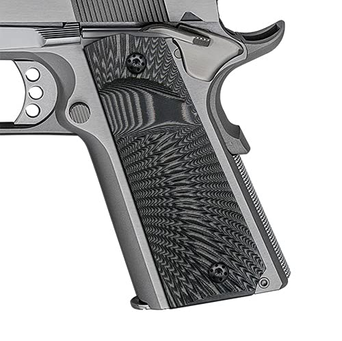 Cool Hand 1911 Full Size G10 Grips, Screws Included, Big Scoop, Ambi Safety Cut, Sunburst Texture (Gun Metal)