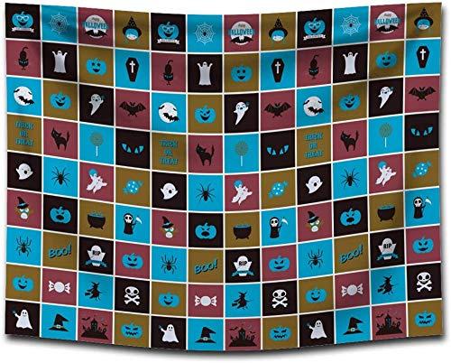 ZXL tafelkleed, wasdoek, bedrukt, Halloween-behang om zelf te maken, decoratie (kleur: G0133 (4) grootte: 150 x 130 cm)