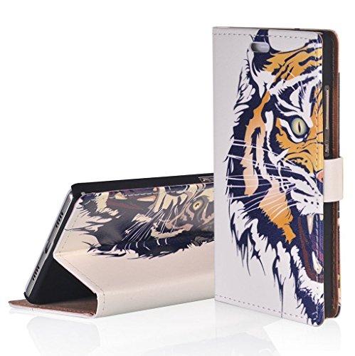 WindCase Klappetui Brieftasche PU Leder Schutzhülle für Alcatel OneTouch Pop Up OT6044 Hülle Tiger Muster PU Ledertasche Case mit Standfunktion Kartenfächer
