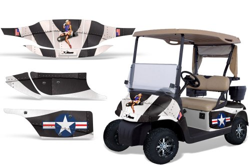 1996-2010 EZGO Golf Cart AMRRACING ATV Graphics Decal Kit-T-Bomber-Black