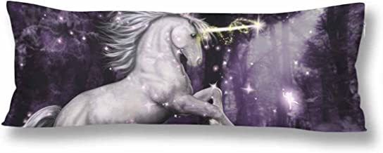 InterestPrint Magic Dancing Unicorn Body Pillow Covers Pillowcase with Zipper 21x60 Twin Sides, Unicorn at Night Moonlight Rectangle Body Pillow Case Protector for Home Couch Sofa Bedding Decorative