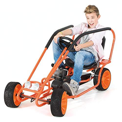 Hauck Thunder Go-Kart für Kinder ab 5 Jahren, Zuschaltbarer Freilauf, Kugelgelagerte Räder, Handbremse für beide Hinterräder, verstellbarer Sitz, Trittfläche zum Mitfahren, orange