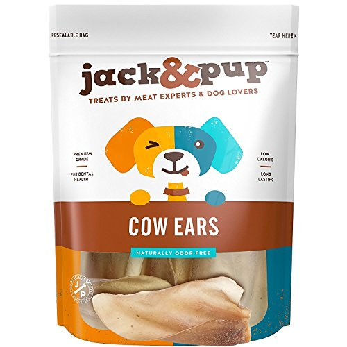 "Jack&Pup Premium Grade Odor Free Cow Ears Dog Treats, (15 Pack) – 8"" Long All Natural and Unflavored Gourmet Dog Treat Chews – Fresh & Tasty Low-Calorie Treat"