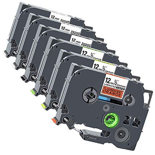 6x Xemax Compatibile Nastro 12mm x 8m Sostituzione per Brother PT Tze-231 Tze-131 Tze-335 Tze-B31 Tze-C31 Tze-D31 Laminato Cassette per PT-D210VP PT-H101C PT-1010 PT-P750W PT-H100P PT-D450