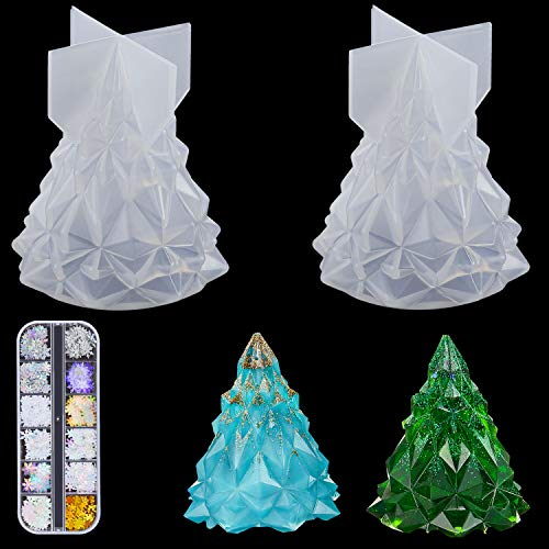 2 Pieces 3D Christmas Tree Silicone Resin Mold Light Holder Epoxy Molds Soap Lotion Bar Mold with 1 Set Snowflakes Nail Art Glitter Sequins for Handmade DIY Craft, Christmas Home Decorations