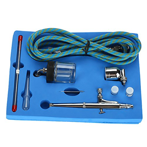 Pistola de pulverización de tatuaje, kit de aerógrafo 0,2 mm / 0,5 mm, pistola de pulverización de cepillo de aire de alimentación por gravedad de aguja para pintura de aire de arte de uñas de tatuaje