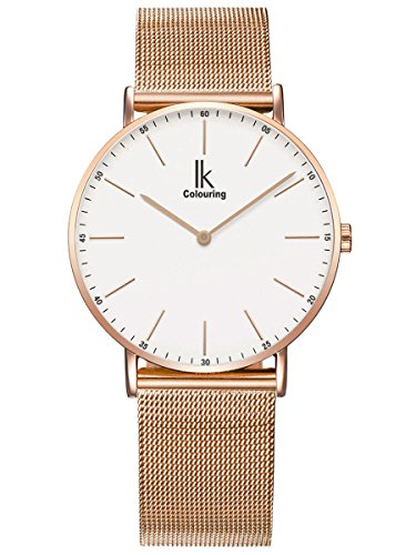 Alienwork IK Damen Herren Armbanduhr Quarz Rose-Gold mit Metall Mesh Armband Edelstahl Weiss Ultra-flach Slim-Uhr