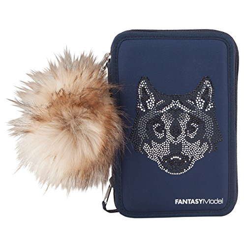 Top Model 6513 Fantasy Model 3-fach Federtasche, Nieten Wolf