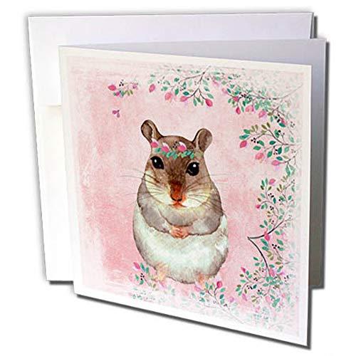 3dRose gc_265450_2 wenskaart met bloemen, motief: Hamster, 15 x 15 cm, roze