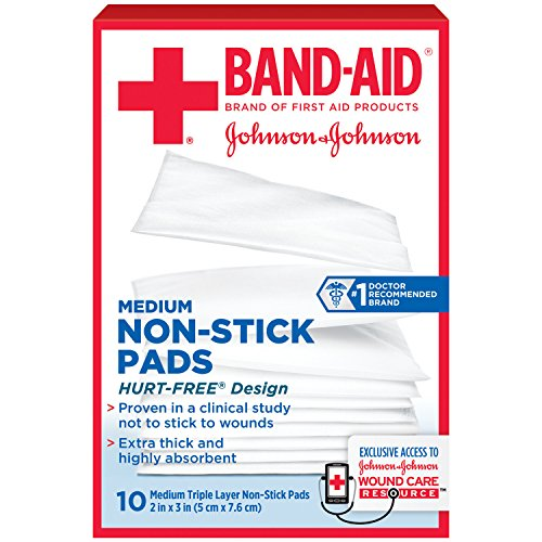 Band-Aid Brand Adhesive Bandages, Medium Non-Stick Pads, 2-Inch X 3-Inch Pads, 10 count (Pack of 6)