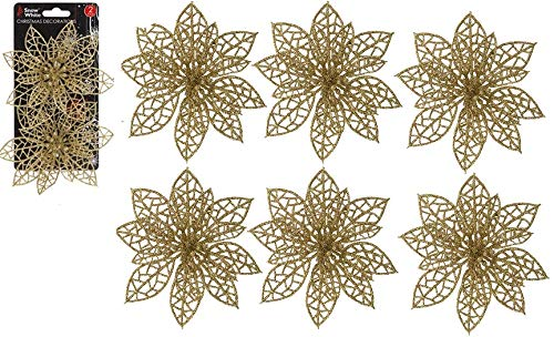 Snow White 6 x Plastic Clip On Gold Poinsettia Christmas Tree Decoration