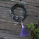 HYJMJJ Pulsera Feng Shui Bead 8mm Piedra Natural Beads Fluorite Amatista Ruby Zoisite Onyx Japamala Sets Yoga Joyería Espiritual Meditación 108 Beads Mala Pulsera de Abalorios de Amuleto