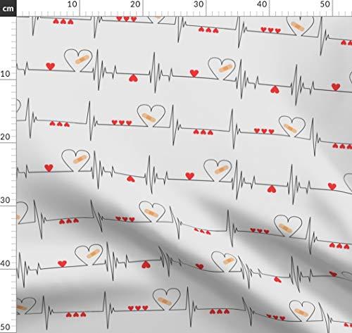 Herzschlag, Herz, Krankenschwester Stoffe - Individuell Bedruckt von Spoonflower - Design von Ohdarkthirty Gedruckt auf Baumwollstoff Klassik