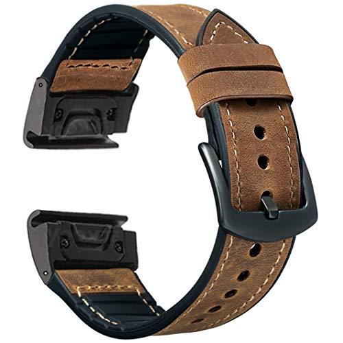 OTOPO Compatible Garmin Fenix 5X / 5X Plus Bands, 26mm Quick fit Hybrid Sport Band Vintage Leather Sweatproof Strap Wrist Band for Garmin Fenix 6X/6X Pro Bands/3/3HR Smartwatch (Crazy Horse Brown)