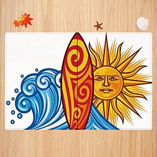 Alfombra de baño Antideslizante,Ride The Wave, Ocean Wave con Sol y Tabla de Surf Lifestyle Summer Freedom Image, Vermilion Yello Apto para Cocina, salón, Ducha (50x80 cm)