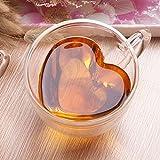 Tazza in vetro U/N, doppia parete con manico, a forma di cuore creativo da 240 ml, perfetta per tè, cioccolata calda, caffè e cappuccino.