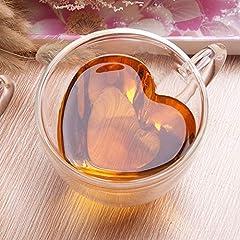 Idea Regalo - Tazza in vetro U/N, doppia parete con manico, a forma di cuore creativo da 240 ml, perfetta per tè, cioccolata calda, caffè e cappuccino.