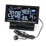 PolarLander 4 en 1 Termómetro de Coche Digital Higrómetro 12V DC Pantalla LCD Hygrothermograph Tiempo Pronóstico Voltaje Reloj