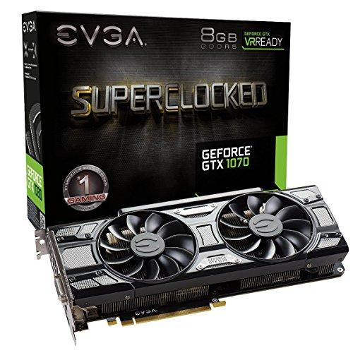 EVGA GeForce GTX 1070 SC GAMING ACX 3.0 Black Edition, 8GB GDDR5, LED, DX12 OSD Support (PXOC) 08G-P4-5173-KR (Renewed)