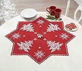 Kamaca - Kit per ricamo a punto croce, motivo natalizio, motivo: magia in rosso con stelle, 75 x 75 cm