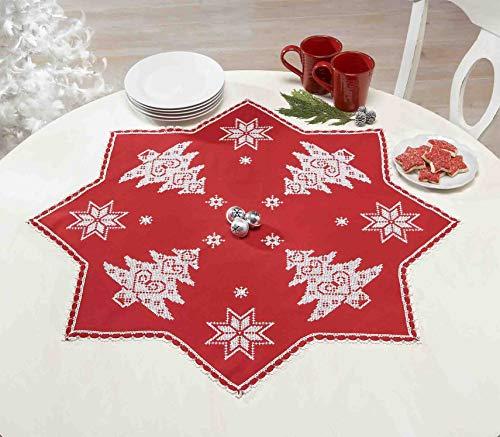 Kamaca Stickpackung Weihnachts - ZAUBER in ROT in Sternen - Form mit Spitze Stickdecke 75x75 cm Kreuzstich vorgezeichnet aus Baumwolle komplettes Stickset mit Stickvorlage Weihnachten