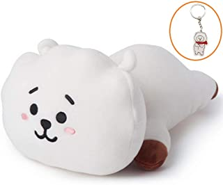 Hosston Kpop BTS Plush Pillow Cartoon Soft Stuffed Play Doll Toys CHIMMY Cooky KOYA MANG RJ SHOOKY TATA Cute Bolster Pillow Dolls with Free Keychain Best Gift for A.R.M.Y( Style 03-RJ)