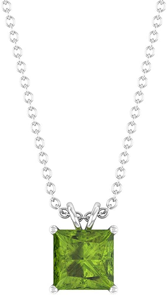 Peridot Pendant Cheap sale Princess Cut Solitaire Ne Max 40% OFF Gold