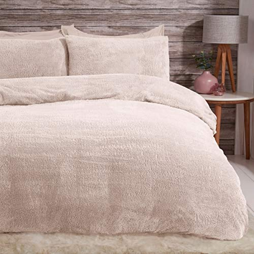 Sleepdown Juego de Funda de edredón de Forro Polar con Fundas de Almohada térmicas, cálidas y Muy Suaves, tamaño King, Color Marfil Natural