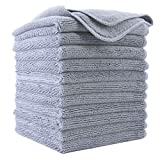 Polyte Premium Microfiber Cleaning Cloth,12 x 12 in, 12 Pack (Gray)